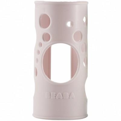 Housse de protection en silicone pour biberon en verre poudré rose