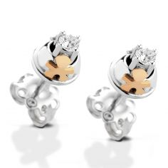Boucles d'oreilles gar�on Gli Inseparabili (or blanc et rose 750� et diamant) - LeBeb�