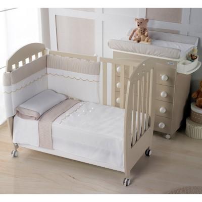 Edredon et tour de lit valeria beige avec cristal swarovski (pour lits 60 x 120 cm)