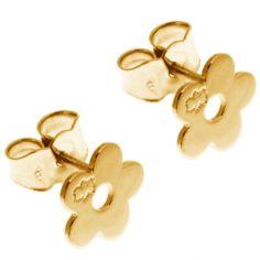 Boucles d'oreilles marguerite 7 mm (or jaune 750�) - Loupidou