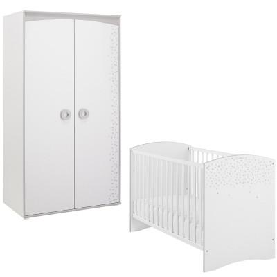 Pack duo zoé lit bébé et armoire 2 portes