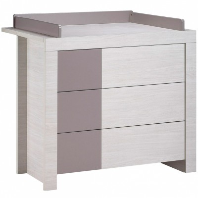 Commode 3 tiroirs opale taupe avec dispositif langer - Commode a langer sauthon ...