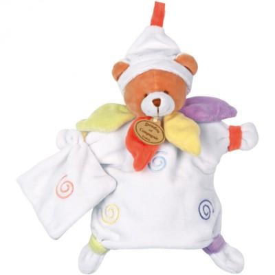 Doudou marionnette ours nuage de couleurs (25 cm)