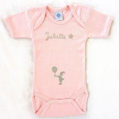 Body rose � manches courtes personnalisable (0-6 mois) - Les Griottes