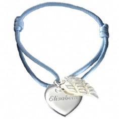 Bracelet cordon Coeur d'ange (argent 925� et nacre) - Petits tr�sors