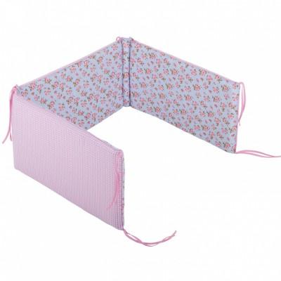 Tour de lit bébé Floral rose et bleu pour lits 60 x 120 et 70 x 140 cm