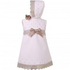 Robe courte de bapt�me rose noeuds beiges avec b�guin - Alves