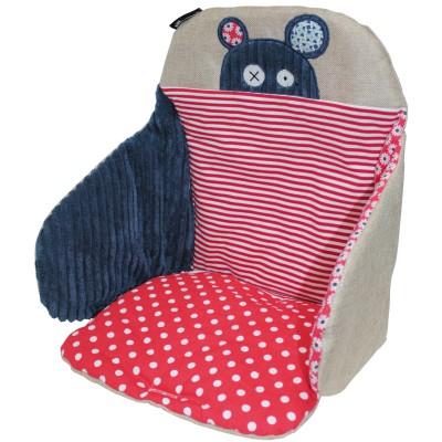 coussin de chaise hippipos bleu et rouge babycalin. Black Bedroom Furniture Sets. Home Design Ideas