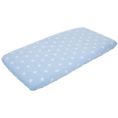 drap housse de berceau bleu ciel toile et rayure 40 x 80. Black Bedroom Furniture Sets. Home Design Ideas