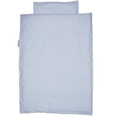 Housse de couette et taie d'oreiller à pois bleu clair (100 x 135 cm)