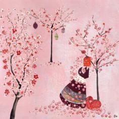Tableau Cerisiers en fleurs by Manuela Magni (50 x 50 cm) - Lilipinso