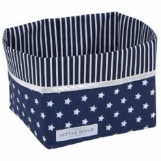 Panier de rangement Bleu marine �toile et rayure (petit mod�le)  - Little Dutch