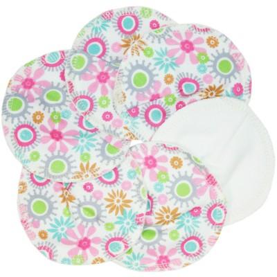 Coussinets d'allaitement lavables fleurs (6 pièces)