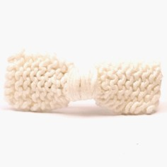 Barrette petit noeud tricot� main blanc (5 cm) - Mamy Factory