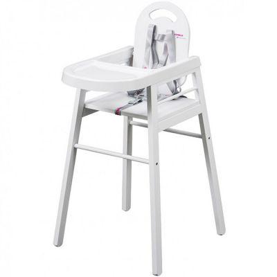 Chaise haute lili en bois massif blanc combelle for Chaise haute en bois combelle