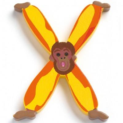 Lettre x en bois singe achille