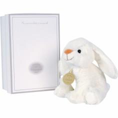 Coffret peluche musical lapin blanc (15 cm) - Doudou et Compagnie