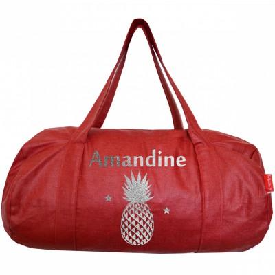 Sac de voyage en toile rouge personnalisable les griottes for Meubles flamant outlet