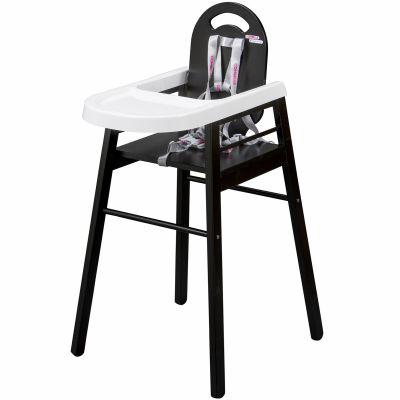 Chaise haute lili en bois massif laqu noir combelle for Chaise haute en bois combelle