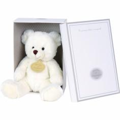 Coffret peluche musical ours blanc (15 cm) - Doudou et Compagnie