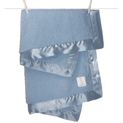 Coffret cadeau couverture chenille bleu (74 x 89 cm)