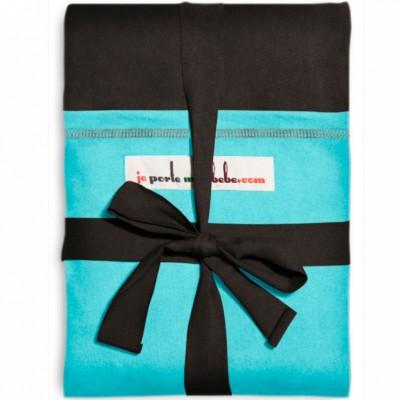 Echarpe de portage l'originale café noir poche turquoise