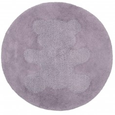 Tapis lavable rond Sweet Teddy parme (100 cm) - Nattiot