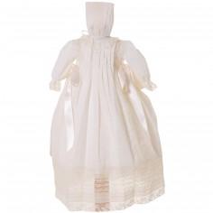 Robe longue de bapt�me blanche dentelle avec b�guin - Alves