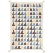 Tapis gar�on Kilim bleu triangles (110 x 160 cm) - Art for Kids