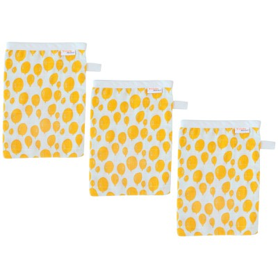 Lot de 3 gants de toilette mousseline balloon yellow