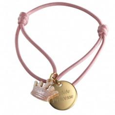 Bracelet cordon Kids couronne (plaqu� or et nacre) - Petits tr�sors