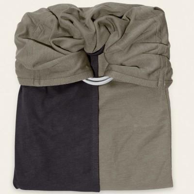 Petite écharpe sans noeud gris anthracite et vert olive