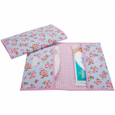 Pochette de change floral rose et bleu