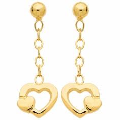 Boucles d'oreilles pendantes Coeurs (or jaune 750°)