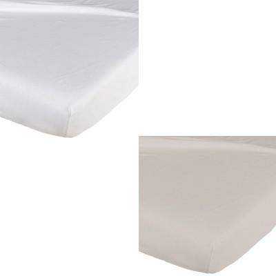 Lot de 2 draps housse blanc / taupe (60 x 120 cm)