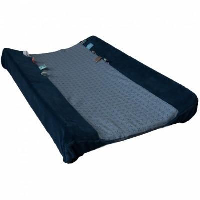 Housse de matelas à langer happy dressing indigo blue (45 x 70 cm)