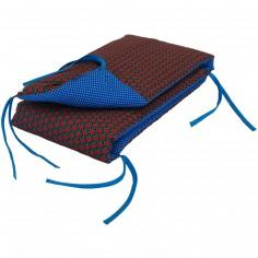 Tour de lit Retro Vintage bleu et rouge (pour lits 60 x 120 et 70 x 140 cm) - Moepa