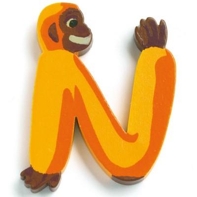 Lettre n en bois singe achille