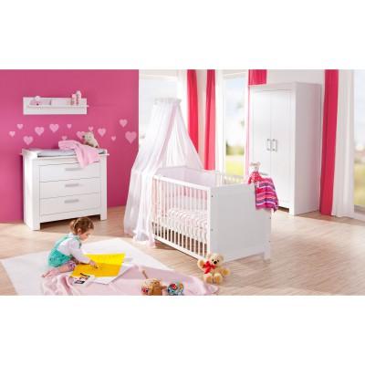 Pack trio marlene blanc lit bébé évolutif, commode à langer et armoire deux portes