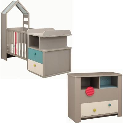 Pack duo calisson lit bébé compact et commode
