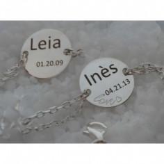 Bracelet Love empreinte gourmette double cha�ne 14 cm (argent 925�)  - Les Empreintes