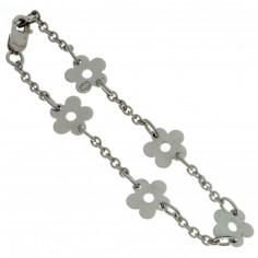 Bracelet Les Evolutifs 13,5 cm 5 petites marguerites 9 mm (or blanc 750�) - Loupidou