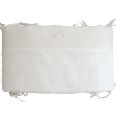 tour de lit lin lav blanc oiseaux rose poudr pour lits. Black Bedroom Furniture Sets. Home Design Ideas