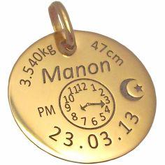 M�daille personnalisable avec croissant et �toile (or jaune 375�) - Alomi