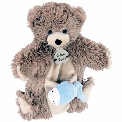 Marionnette ours à main + marionnette à doigt poisson
