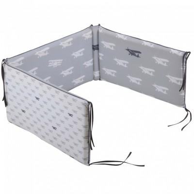 Tour de lit bébé Grey airplane pour lits 60 x 120 et 70 x 140 cm