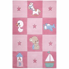 Tapis Newborn �toiles et carreaux rose (110 x 170 cm) - Smart Kids