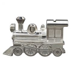 Tirelire Locomotive personnalisable (m�tal argent�)  - Orf�vrerie de Cr�vigny