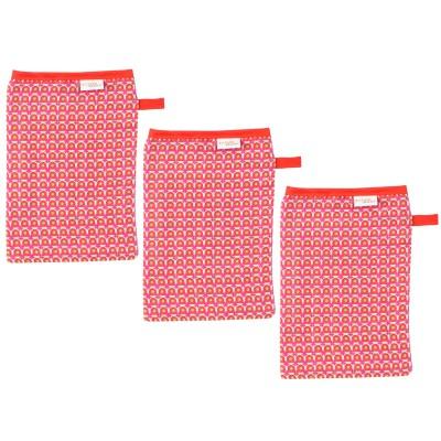 Lot de 3 gants de toilette en mousseline philo red