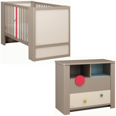 Pack duo calisson lit bébé et commode